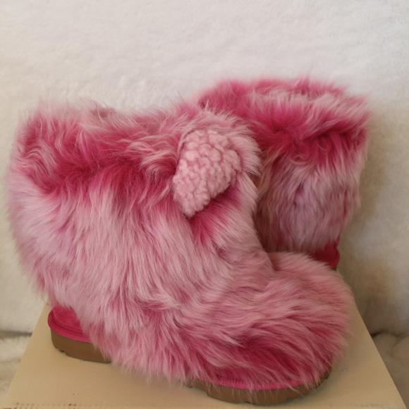 Ugg Girls Fluff Pink Fur Boots New